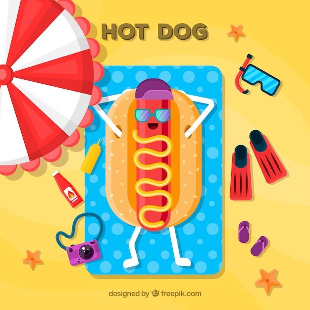 Funny hot dog bain de soleil Vecteur gratuit