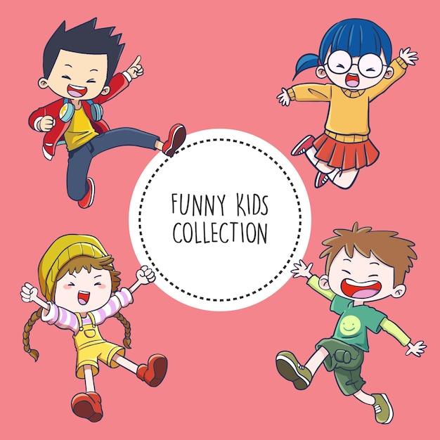 Funny kids collection Vecteur Premium