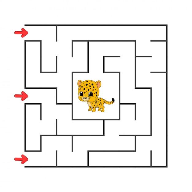 Funny labyrinthe carré. Vecteur Premium