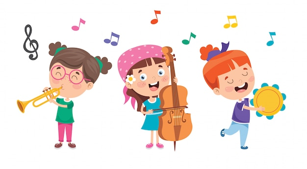 Funny Little Kids Performing Music Vecteur Premium