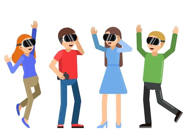 Funny people jouant à des jeux vidéo dans un casque de réalité virtuelle Vecteur Premium