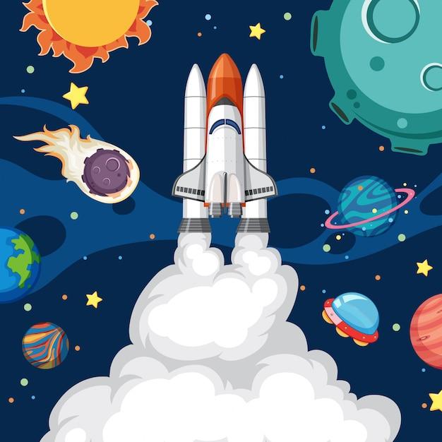 Une fusée dans l'espace Vecteur Premium