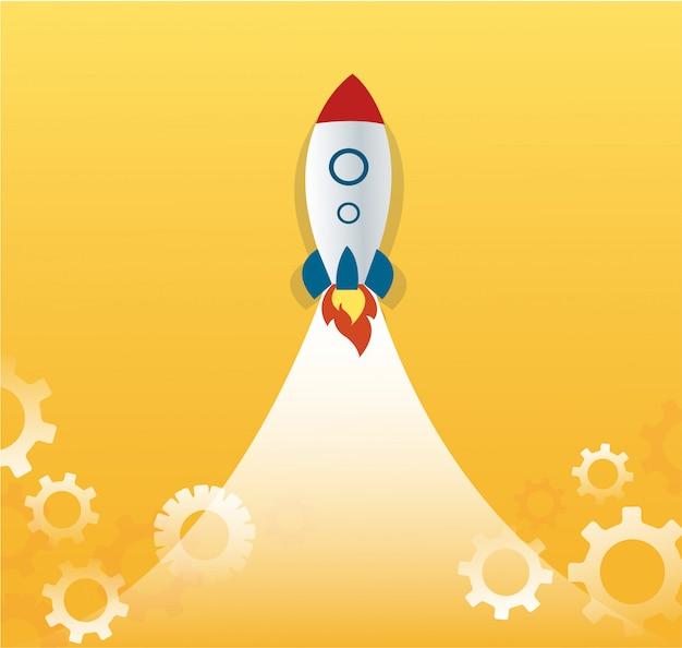 Une fusée et des engrenages, concept d'entreprise de démarrage Vecteur Premium