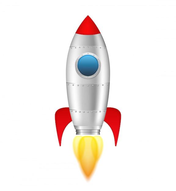 Fusée à flamme sur fond blanc, illustration vectorielle eps10 Vecteur Premium