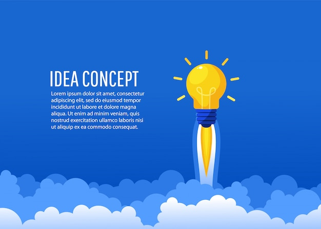 Une Fusée D'idée Créative Vole Dans Le Ciel. Démarrage, Création D'un Nouveau Concept, Style Plat, Illustration Vecteur Premium
