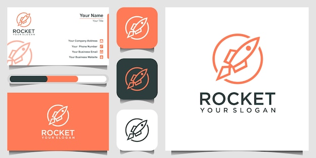 Fusée Avec Illustration D'icône De Style Art En Ligne. Et Carte De Visite Vecteur Premium