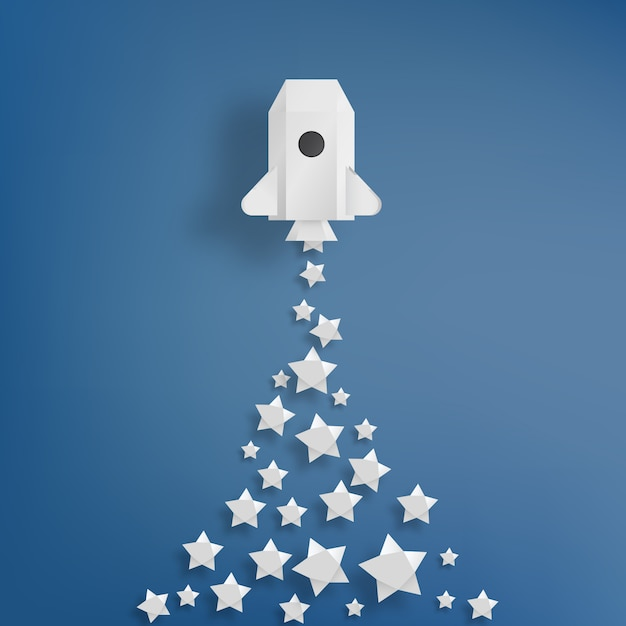 Fusée en papier avec illustration vectorielle fond étoile Vecteur Premium