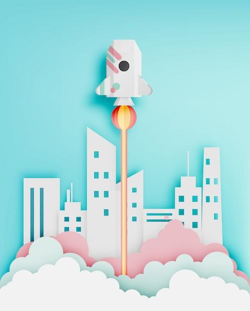 Fusée en papier avec illustration vectorielle ton pastel fond Vecteur Premium