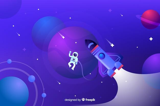 Fusée Plate à Gradient Voyageant à Travers La Galaxie Vecteur gratuit