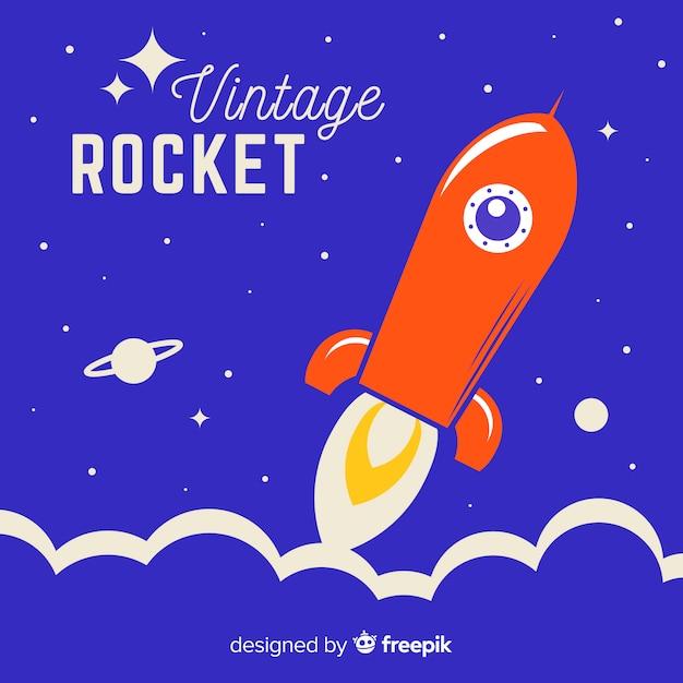 Fusée spatiale moderne au design plat Vecteur gratuit