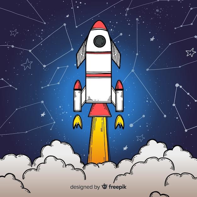 Fusée spatiale moderne dessinée à la main Vecteur gratuit