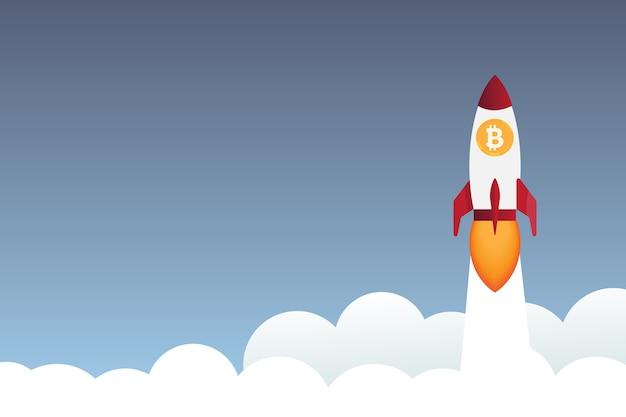 Fusée Survolant Les Nuages avec L'icône De Bitcoin Vecteur Premium