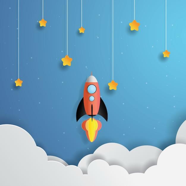 Fusée volant dans l'espace, étoile pendante, art du papier, papier découpé, vecteur de l'artisanat Vecteur Premium