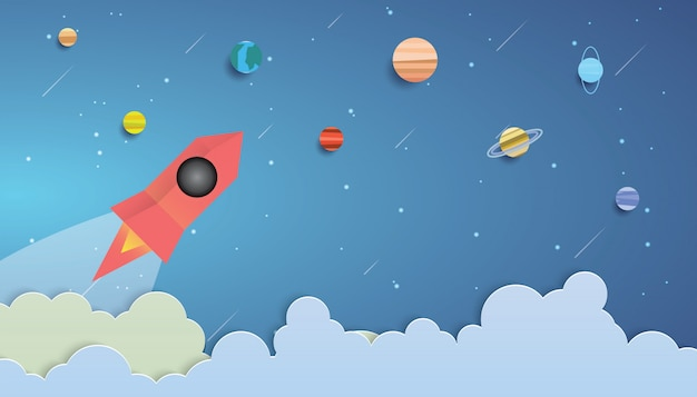 Fusée volant dans l'espace Vecteur Premium