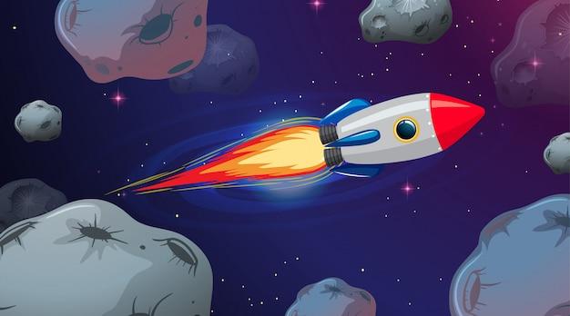 Fusée Volant à Travers Les Astriods Vecteur gratuit