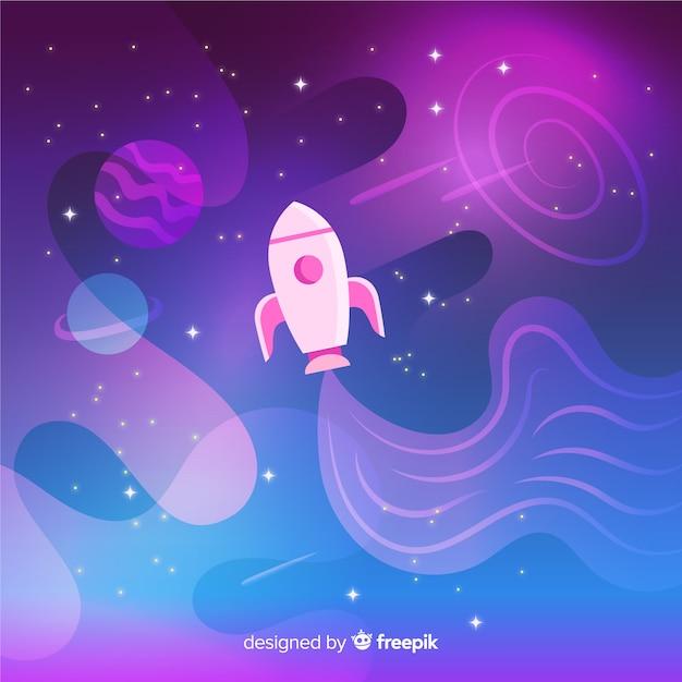 Fusée voyageant à travers le fond coloré dégradé de l'espace Vecteur gratuit