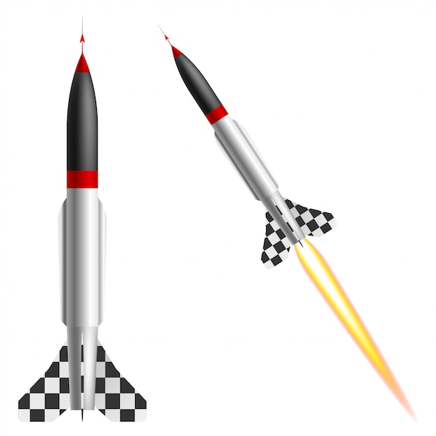 Fusées sur fond blanc Vecteur Premium