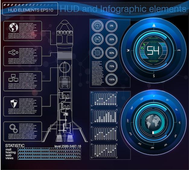 Les Fusées D'interface De Lancement Spatial, L'affichage Graphique Contrôlent La Fusée De Palette. Sky-fi Hud. Vecteur Premium