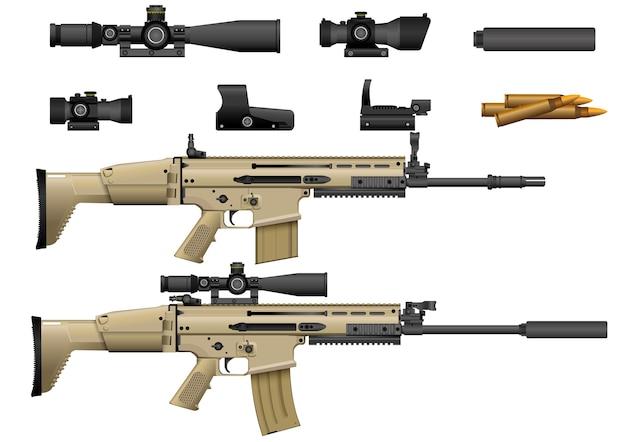 Fusil avec vecteur de portée Vecteur Premium