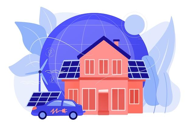 Future Technologie Intelligente. énergie électrique Alternative, énergie écologique. Maison écologique, Maison à Faible Impact Environnemental, Concept Technologique écohome. Illustration Isolée De Bleu Corail Rose Vecteur gratuit