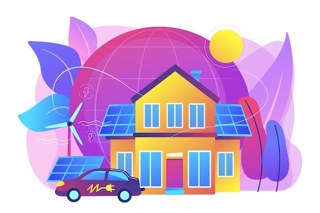 Future Technologie Intelligente. énergie électrique Alternative, énergie écologique. Maison écologique, Maison à Faible Impact Environnemental, Concept Technologique écohome. Illustration Isolée Violette Vibrante Lumineuse Vecteur gratuit