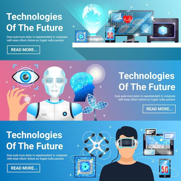 Future technologies banners set Vecteur gratuit
