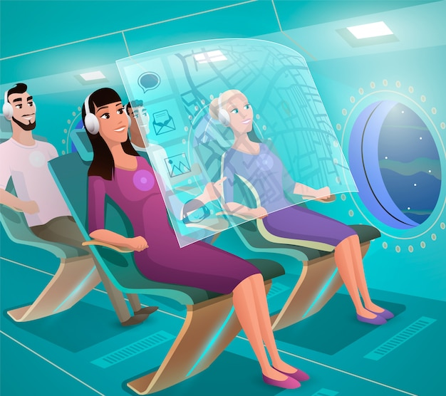 Futurs clients aériens dans un vecteur d'avion futuriste Vecteur Premium