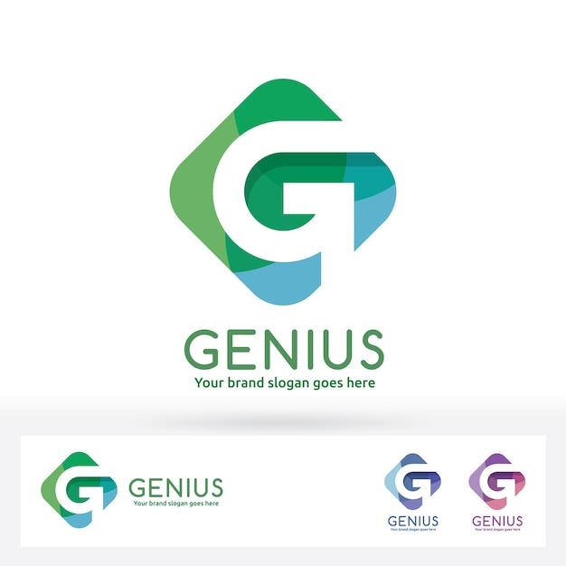 G letter logo., g letter in harmony badge en rectangle de couleur Vecteur Premium