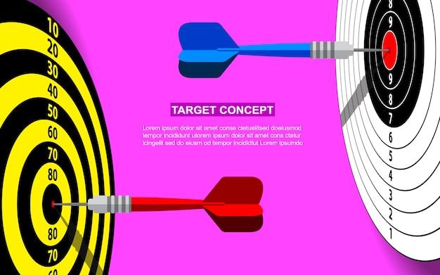 Gabarit de dart cible pour objectif métier. fond rose cible concept de marché de tir fond Vecteur Premium