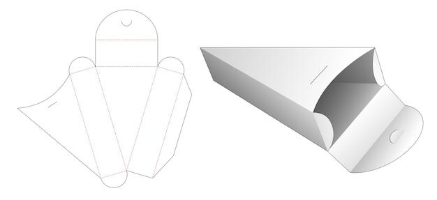Gabarit De Découpe De Boîte De Forme Triangulaire En Carton Vecteur Premium