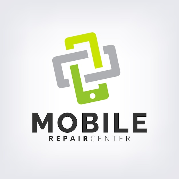 Gabarit d'icône de logo fix & mobile green interlock mobile phone Vecteur Premium