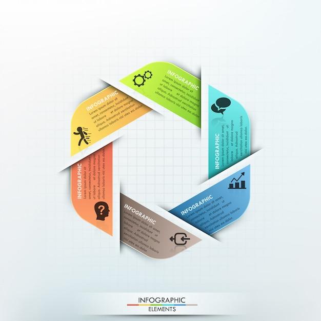 Gabarit de papier cycle infographie moderne Vecteur Premium