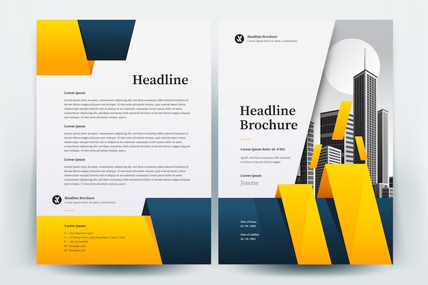 Gabarit de présentation de brochure entreprise cercle jaune et bleu Vecteur Premium