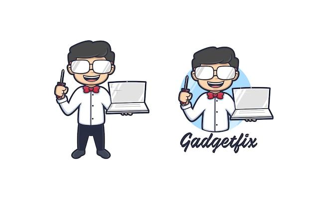 Gadget Geek Logo Vecteur Premium