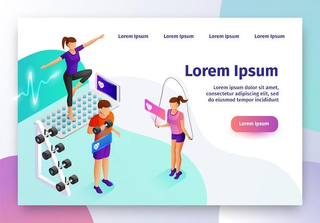 Gadget intelligent pour site web vectoriel isométrique de sport Vecteur Premium