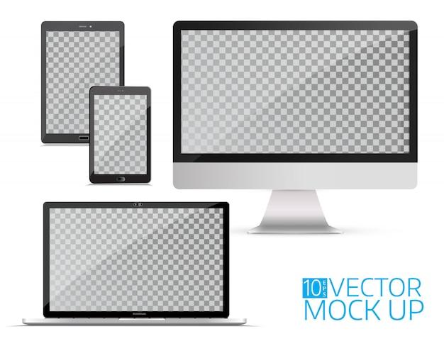 Gadgets électroniques, isolés, sur fond blanc. Vecteur Premium