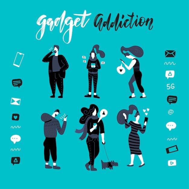 Gadgets, illustration de la dépendance au smartphone. personnes noires et blanches. ensemble d'hommes et de femmes utilisent leur téléphone, lisent des nouvelles en ligne, jouent à des jeux, réseaux sociaux, internet. Vecteur Premium
