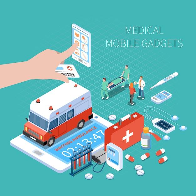 Gadgets Mobiles Médicaux Pour La Surveillance De La Santé Et La Composition Isométrique De L'ambulance D'appel Sur Turquoise Vecteur gratuit