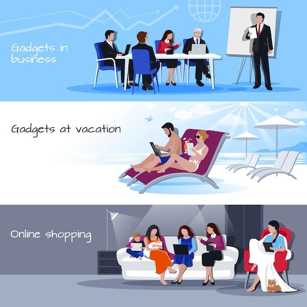 Gadgets en vacances d'affaires shopping bannières Vecteur gratuit