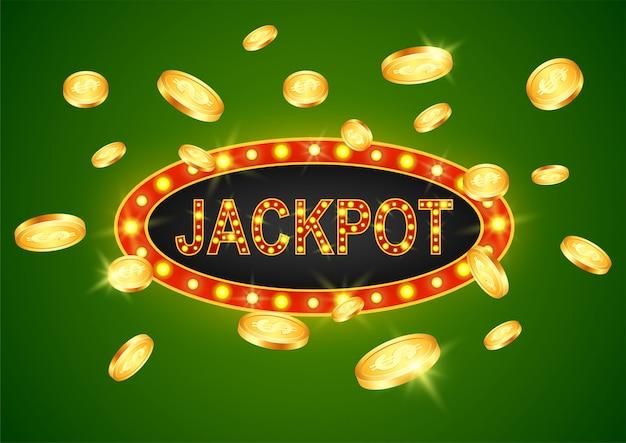 Gagnant du jackpot et fond vert. Vecteur Premium