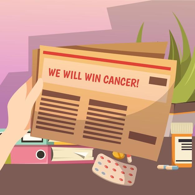 Gagner contre la composition orthogonale du cancer Vecteur gratuit