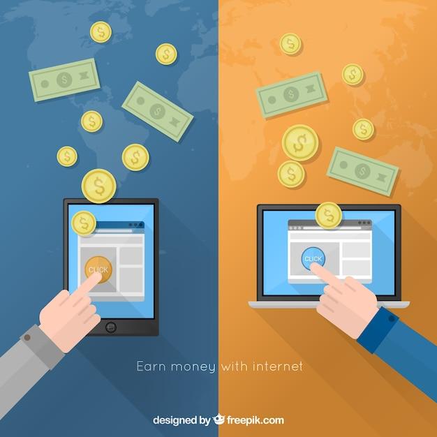 Gagnez de l'argent avec internet Vecteur gratuit