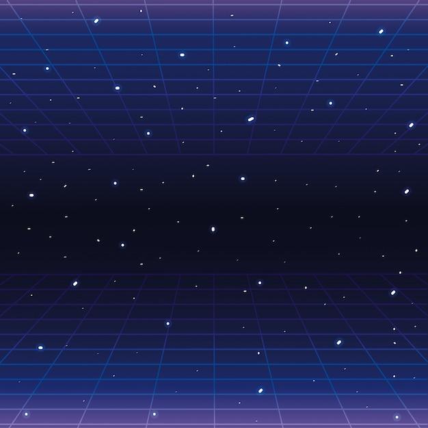 Galaxie avec étoiles et arrière-plan de style graphique géométrique Vecteur Premium
