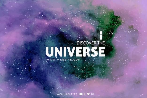 Galaxie De Fond à L'aquarelle Vecteur gratuit
