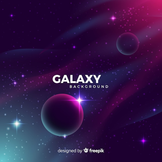 Galaxie réaliste avec fond de planètes Vecteur gratuit