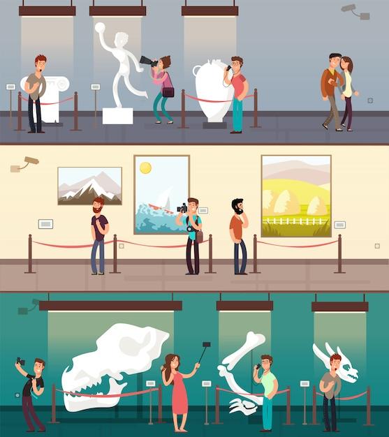 Galerie du musée avec des images d'art, une exposition et un ensemble de bannières pour enfants Vecteur Premium
