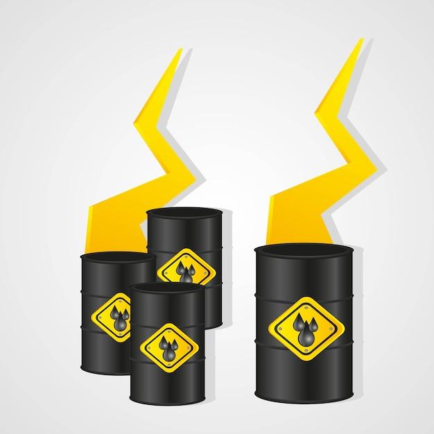Gallons d'huile isolé sur fond blanc Vecteur Premium