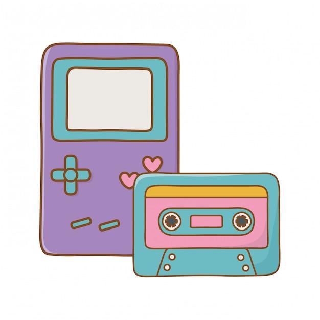 Game boy et cassette Vecteur Premium