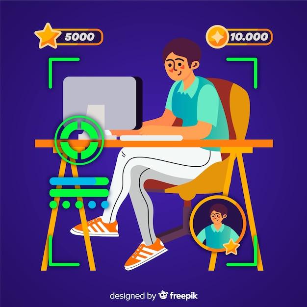 Gamer design plat illustration décorative Vecteur gratuit