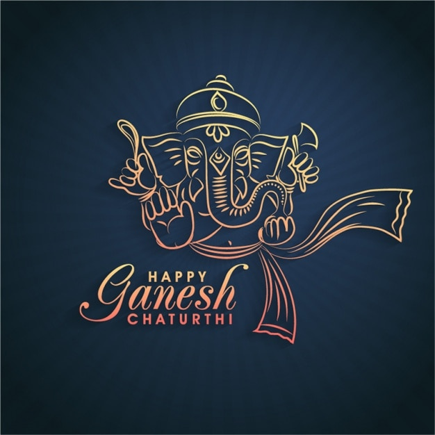 Ganesh Bonne Chaturthi Fond Vecteur Premium
